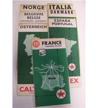 Vintage Caltex Road Maps of European Countries