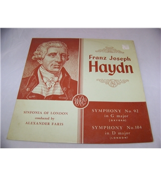 "haydn symphonies no 92 ""Oxford"" and no 104 (London) sinfonia of london - t 28"