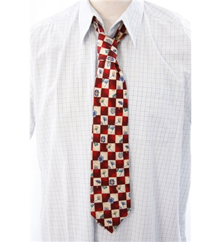 Jonelle Red and Cream Floral Print Silk Tie