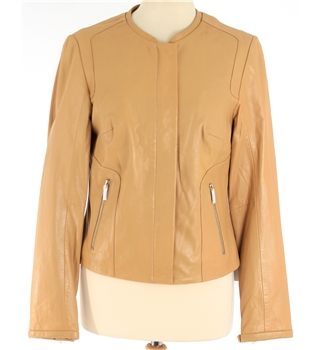 NWOT M&S Marks and Spencer Size 8 Tan Real Leather Jacket.
