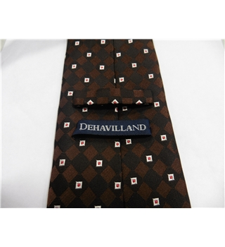 Dehavilland Silk Tie Chocolate Brown With Silver & Red Square Design