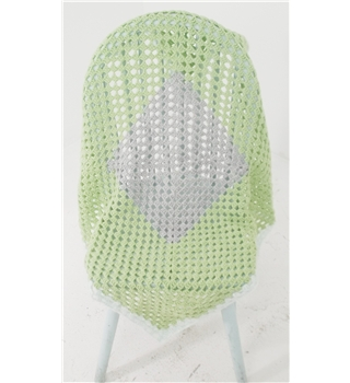 Lime Green & Mint Crochet Small Blanket Featuring Mint Green Border