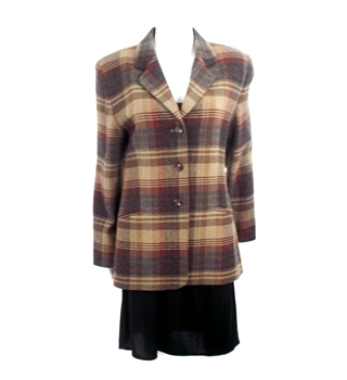 Autumn Crush Collection:  Vintage 1980's Size 16 Ramsay of Dublin Terracotta Checked Oversize Blazer