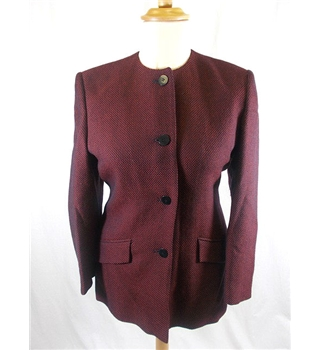 Viyella - Size: 10 -Red and Black Herringbone Pure Wool Jacket