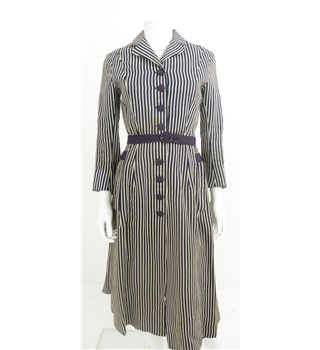 The Powerhouse Woman Collection: Vintage C.1940's Size 6 Navy and Ivory Stripe Button Down Dress