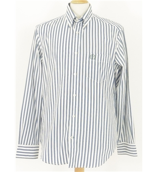 Blue Harbour Tailored Fit Size Medium White with Blue Pinstripe Long Sleeved Shirt
