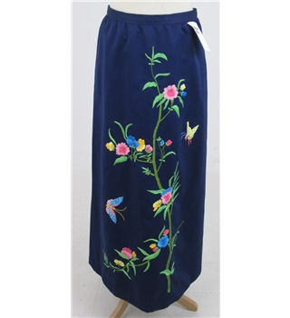 "Waist 30"", navy blue embroidered skirt"