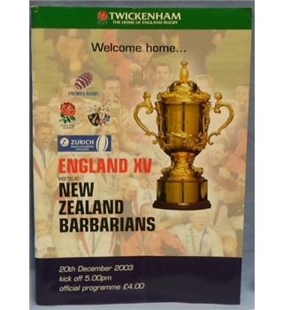 2003 England XV v. New Zealand Barbarians Official Programme
