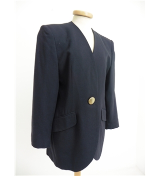 Vintage 1980's Christian Dior Size 12 Navy Single Gold Button Blazer