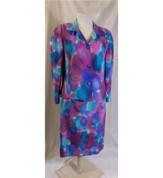 Mady Gerard hand-painted silk suit - Size: S - Multi-coloured - Skirt suit