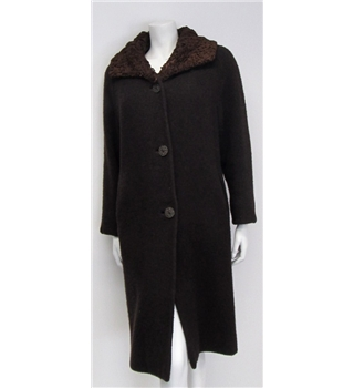 Aireton Size M Vinatge Brown Wool Coat with Lamb Skin Collar Aireton - Size: M - Brown