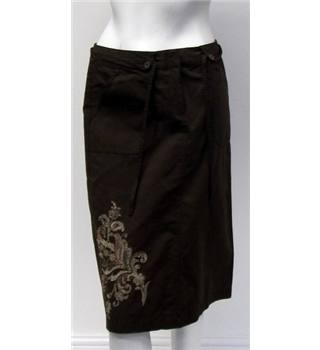 Next Size 8 Brown Skirt with Floral Pattern Next - Size: 8 - Brown