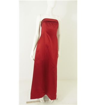 Monsoon  Size: 10 Deep Cherry Red Satin Effect Strapless Bridesmaid Gown with Retro Style Back Collar