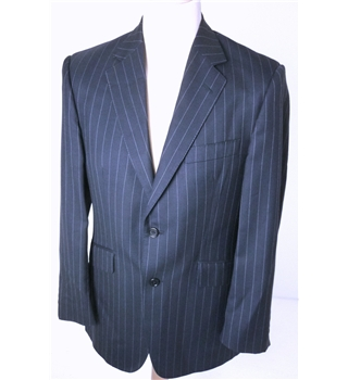 "Aquascutum [Size: Medium, 38"" chest, tailored fit]  Navy Blue With Fine Pinstripe Stylish Wool Designer Single Breasted Blazer"