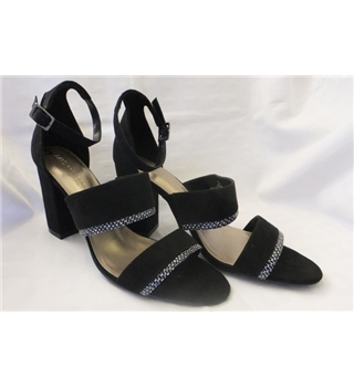 M&S Collection Strappy Block Heel Wide Fit Sandals with Insolia - Size: 7.5 - Black