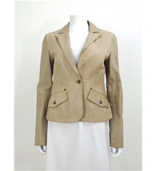 Roberto Cavalli Size S Straw Stitch Detail LeatherJacket