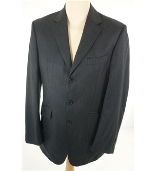 "Aquascutum Size: Medium, 38"" chest, tailored fit Black Chevron Pinstripe Smart / Stylish Wool Designer Single Breasted Jacket"
