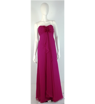 Eden Size 6 Fuchsia Pink Full Length Chiffon Overlay Strapless Bridesmaid Dress