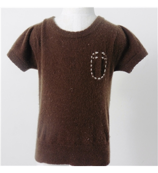 "Mini A Ture  Chest 26"" Brown 100% Cashmere Sort Sleeved - Jumper"
