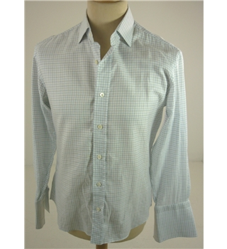 "Oscar Taylor [Size: Small, 36"" chest, 14.5"" Collar] Creamy White, Blue Check Casual / Stylish Cotton Long Sleeved Designer Shirt"
