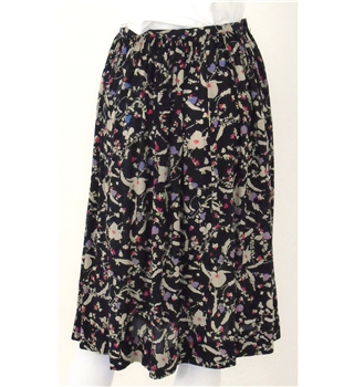 Handmade Size: S Black Lilac  and Multi Printed- Knee length skirt
