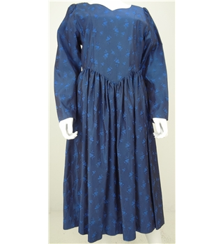 Vintage  Late 70's Early 80's Vivien Smith Size M Midnight Blue Floral Jacquard Maxi Dress