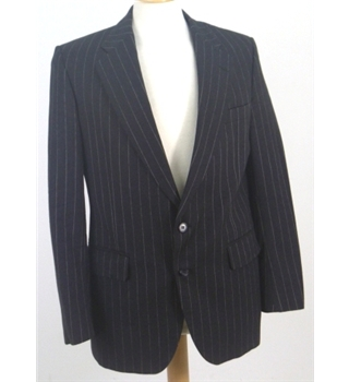 Aquascutum Size 38 Charcoal Single Breasted Pinstripe Blazer.