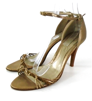 Kenneth Cole Size 7 Gold Peep Toe Ankle Strap Shoes