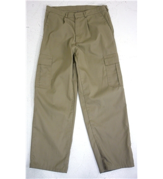 "Unbranded  Size: 14, 31"" waist, 29"" inside leg  Indian Khaki  Casual/Military Styled Poly Cotton Trousers"