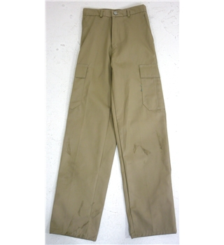 "Unbranded Size: 8, 26.5"" waist, 31"" inside leg  Indian Khaki  Casual/Military Styled Poly Cotton Trousers"