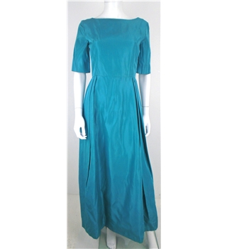 Vintage 1950s Size 10 Turquoise Evening Dress