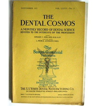 The Dental Cosmos, November 1925, vol. LXVII, #11