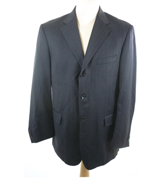 "Bernini Size: Medium, 40"" chest, regular fit Black With Dash & Line Pinstripe Smart Wool Designer Single Breasted Jacket."