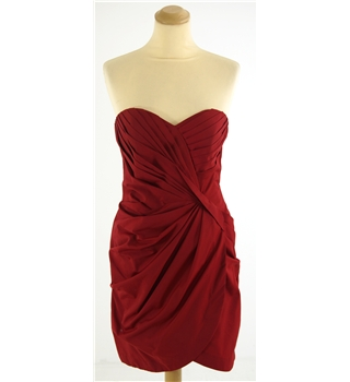 Warehouse Size: 12 Red Strapless Bandeau Evening Dress with Origami Folding Detail
