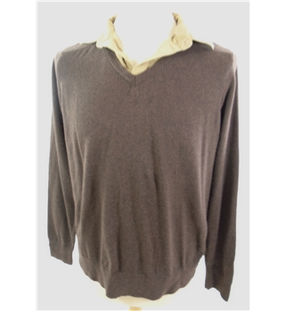 "M & S Size: Medium, 40"" chest Brown With Mock Khaki Shirt Casual/Stylish Long Sleeved Cotton & Viscose Blend Jumper"