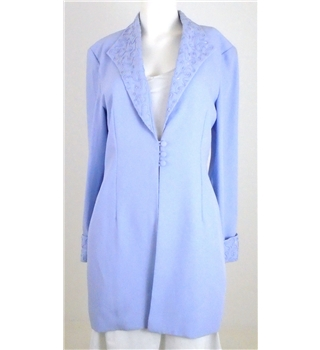 Vintage 1980s Gina Bacconi Size 12 Blue Blazer With A Piping And Beading Design On The Collar And Cuffs