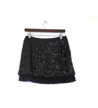 Stefanel Size 6 Black Sequin Mini skirt