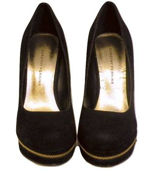 Dorothy Perkins black velvet stilettos, zip block toe, size 6.