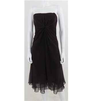 BNWT WTOO By Watters Size S Brown Strapless Twist Front Cocktail Dress