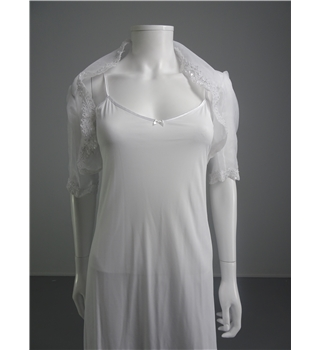 Lacey Bell Sheer White Size 10 Bolero With Lace And Embellished Trim