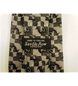 Savile Row London Grey Checked Kettle Print Silk Tie