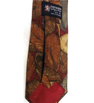 Austin Reed Red Leaf Pattern Silk Tie