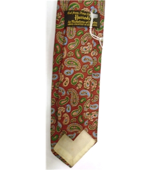 Harrods Red 100% Silk Paisley Pattern Tie