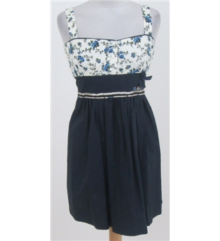 The Little Wardrobe age: 9-10 years navy blue and floral cotton dress