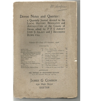 Devon Notes and Queries, Volume IV Part IV, October 1906