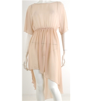 Zara Woman Size 8 Nude Pink Sheer Asymmetrical Dress