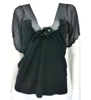 Bay's Edit Prada Size 8 Black Silk Blend Top with Bow Detailing