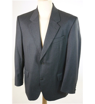 "Austin Reed Size: Medium, 40"" chest, reg fit Iron Grey With Fine Blue Pinstripe Stylish Wool Designer Single Breasted Jacket."