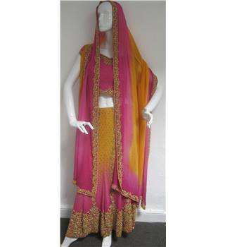 Unbranded Size 8 Pink and Orange Embroidered Lehenga Choli  Full Skirt Wedding Dress