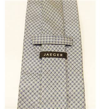 Jaeger Blue Checked Pattern Silk Tie